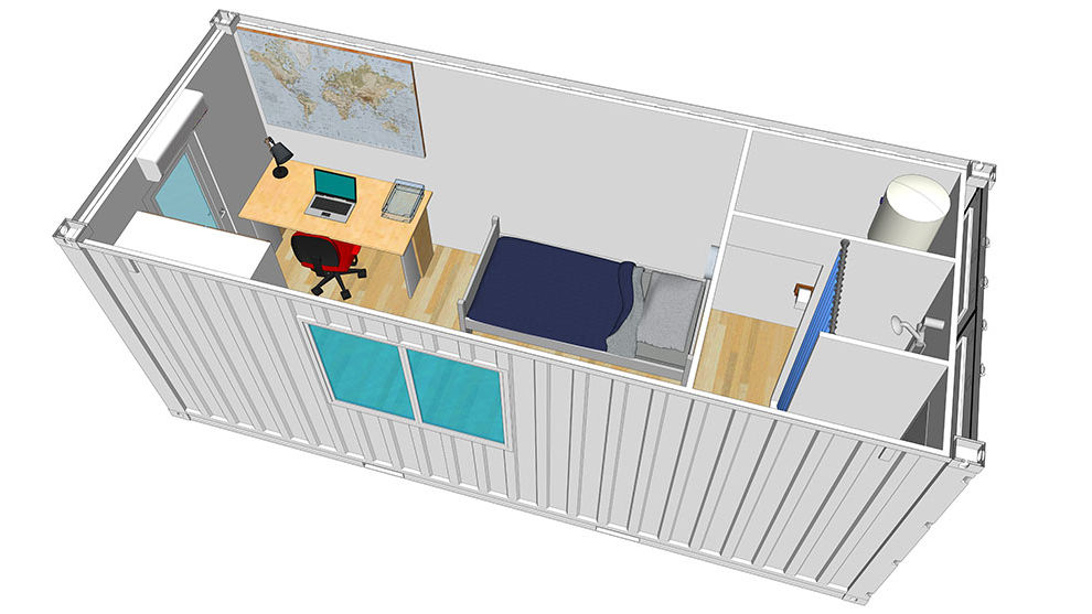 containers transform s en logements container studio container maison. Black Bedroom Furniture Sets. Home Design Ideas