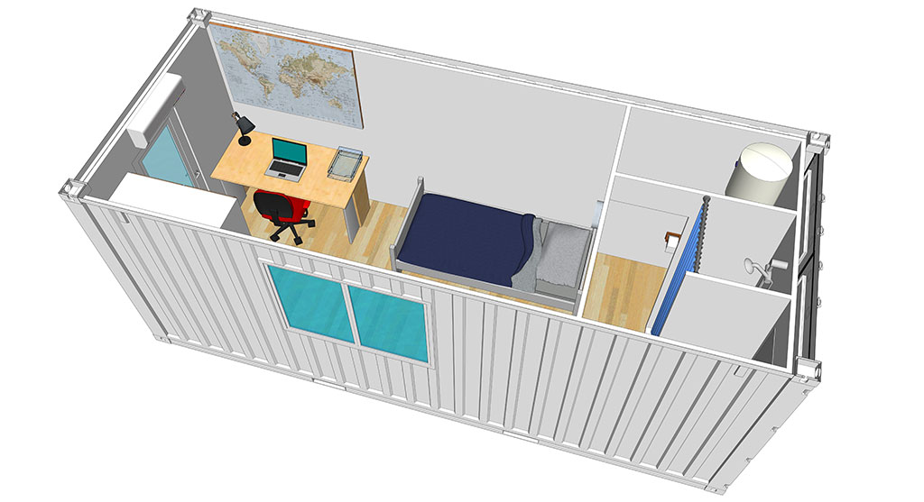 Containers transform s en logements container studio for Studio conteneur